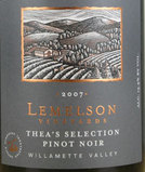 Lemelson Vineyards Pinot Noir Thea's Selection Willamette Valley 2008